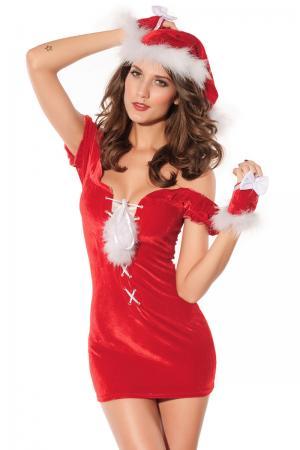 Velvet Lace Up Christmas Lingerie