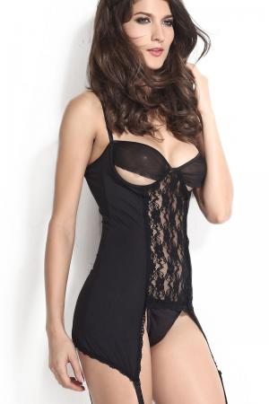 Black Erotic Chemise Lingerie Set
