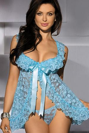 Sexy Floral Lace Underwired Babydoll Dress
