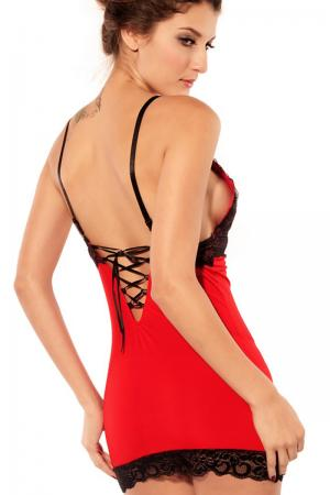 Stretch Red Chemise Lace-up Back