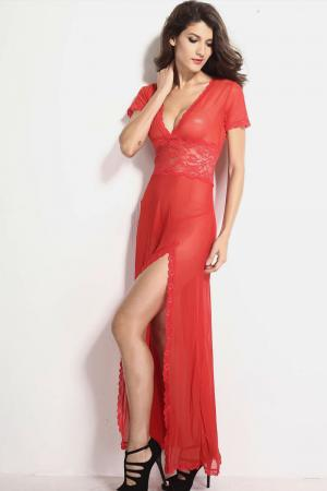 Plus Size Red Mesh & Lace V Neck Gown