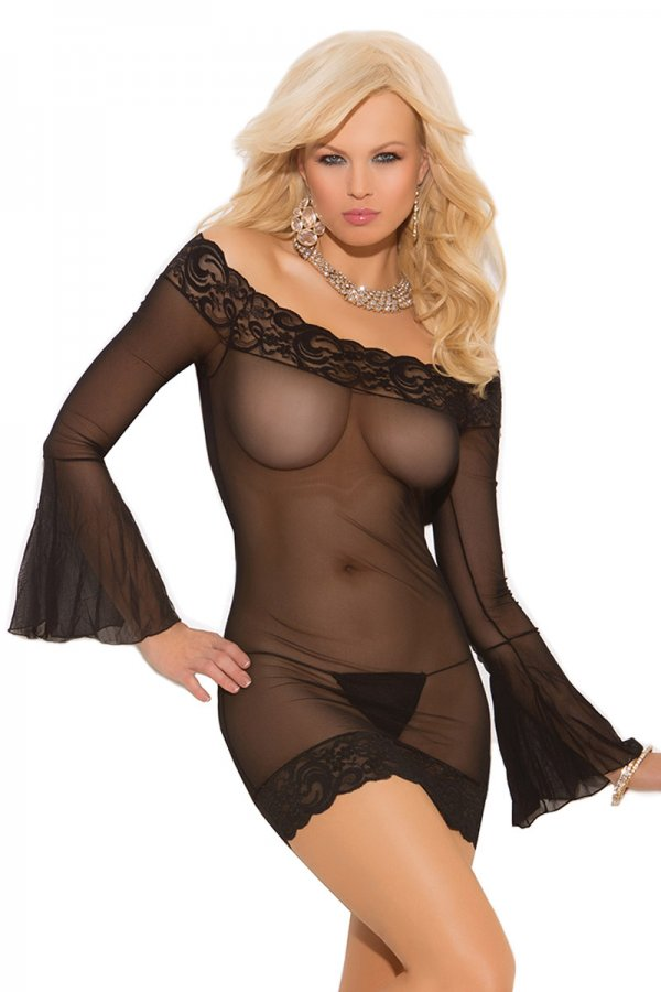 Black Transparent Mesh Mini Dress