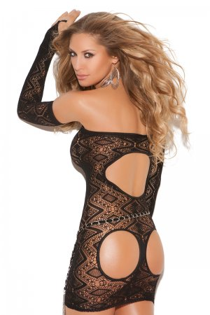 Open Back Sexy Dress with Diamond Pattern