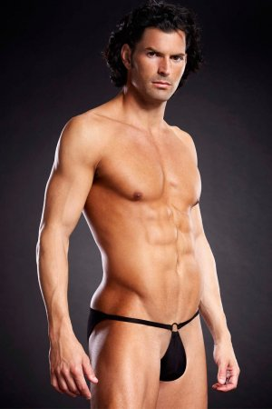 Mens G String Pouch with Metal Ring