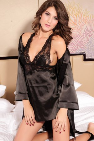 Sexy Satin Nightgown Slip and Robe - Black
