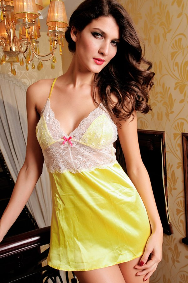 Yellow Satin Babydoll