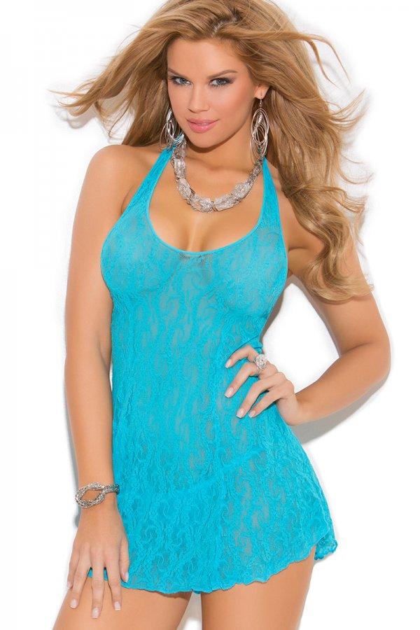 Turquoise Lace halter mini dress