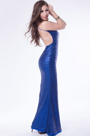 Blue Sequin Low Back Gown