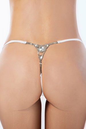Diamond White Black G String