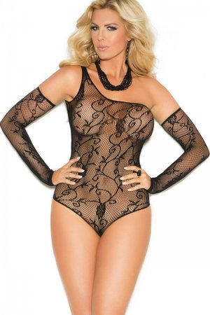 Plus Size Floral fishnet teddy with matching gloves