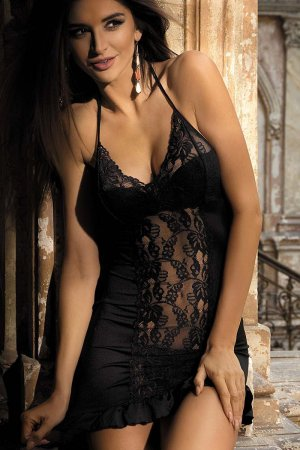 Black Stretch Mesh Nightie Babydoll