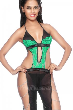Undeniable Green Lace Sheer Black Mesh Bodysuit