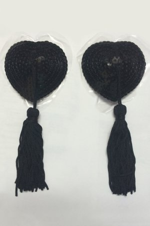 Black Heart Shape Sequin Pasties