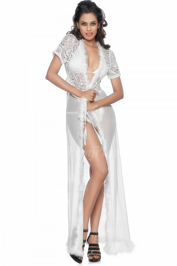 Ivory Sexy Nightgown Robe with Fur Trim