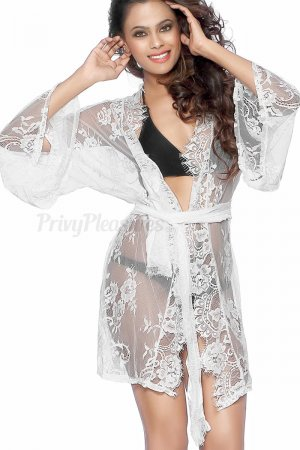 White Kimono Night Dress for Honeymoon