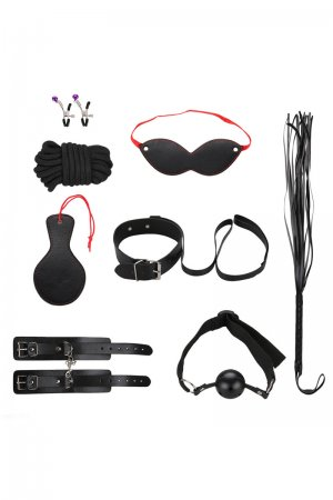 Passionate 8 Pcs BDSM Bondage Set - Black