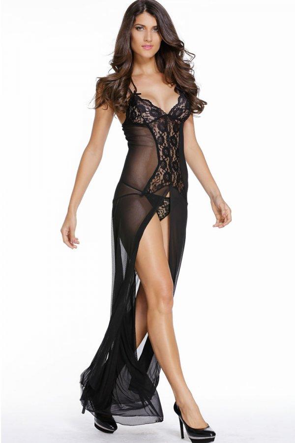 Bride to Be Black Sleepwear Gown