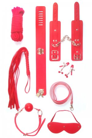 Intermediate 7 Piece Bondage Kit- Red