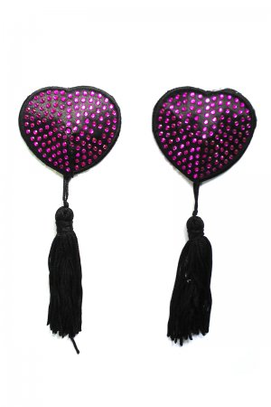 Duo-colored Heart shape rhinestone pasties