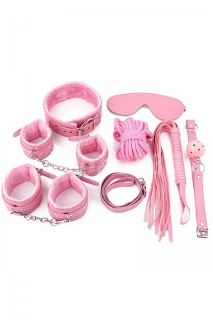 Intermediate 7 Piece Bondage Kit - Pink