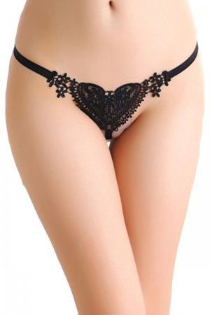Black Open Crotch Pearl Panty