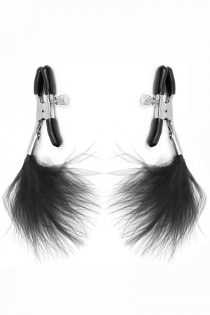 Nipple Clamps with Black Feather