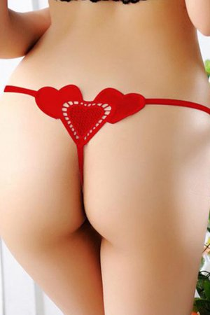 Sexy Back Heart Panty For Women- Red