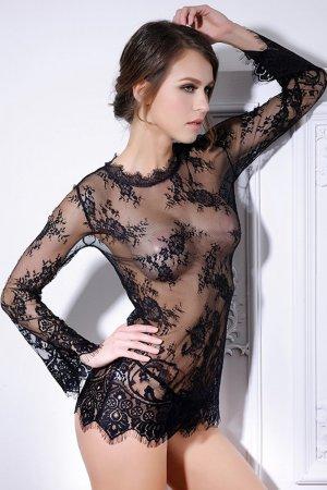 Sexy Black Transparent Mesh Mini Dress