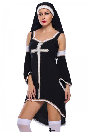 Sinful Nun Costume with Stocking