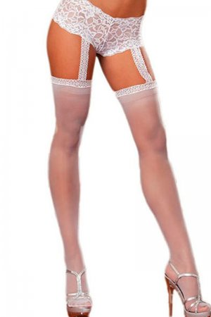 1pc White Lace Garter Short Sheer Stockings
