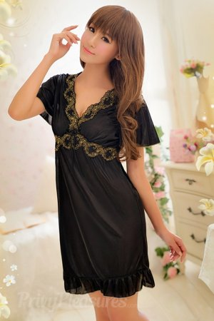 Elegant Princess Pretty Soft Black Satin Sleep wear Babydoll
