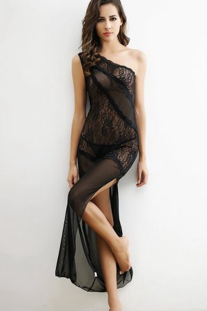 Black Lace Asymmetrical Night Dress