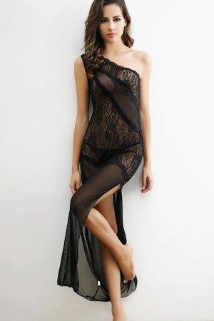 Black Transparent Sexy Night Dress for women