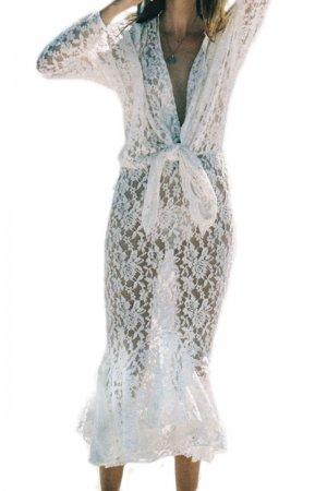 Sheer Lace Long-sleeve Mermaid Maxi Dress