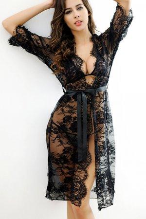 Black Belted Lace Kimono Nightwear