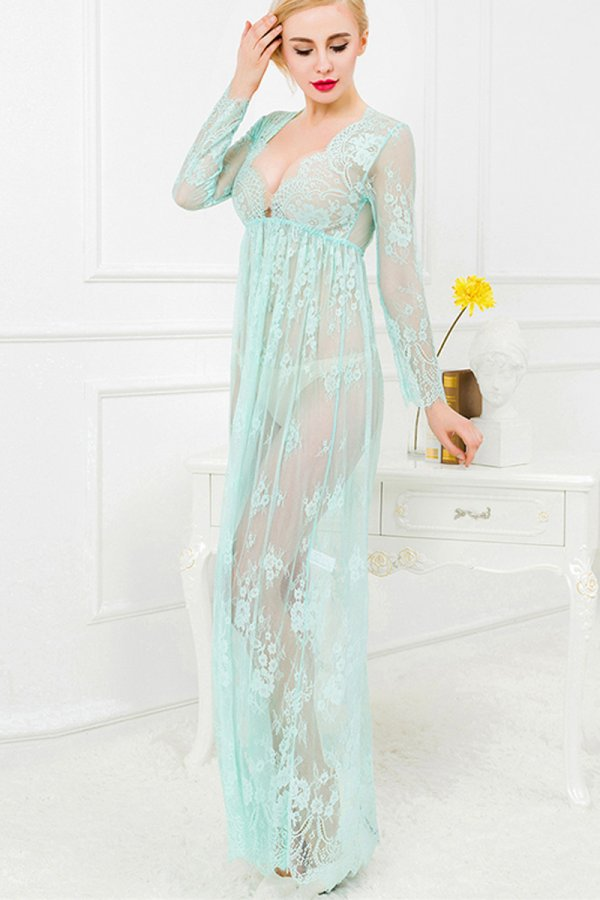 Green and Nude Lace Maxi Dress