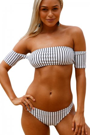 Off-the-shoulder Striped Bikini Swimsuit