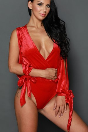 Red Faux Wrap Cut Out Sleeves Bodysuit